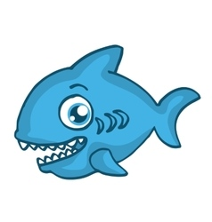 Blue shark happy cartoon design vector