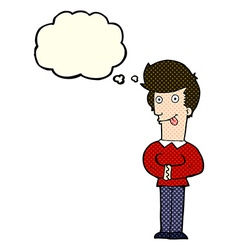 Cartoon man sticking out tongue with thought vector