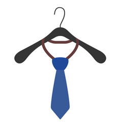 Clothes hanger with tie icon and sign vector