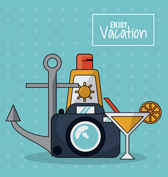 Colorful poster of enjoy vacation with photo vector