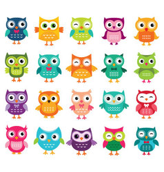Cute cartoon owls collection vector image vector image