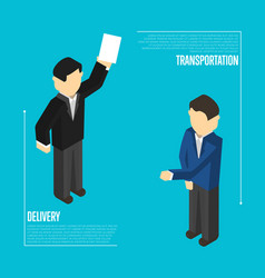 Delivery transportation isometric banner vector