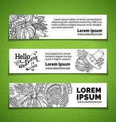 Doodles thanksgiving horizontal banners set vector