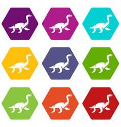 elasmosaurine dinosaur icon set color hexahedron vector image