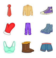 fashion clothes icon set cartoon style vector image
