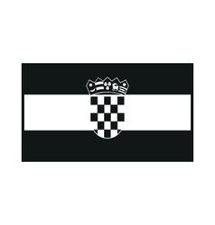 Flag of croatia monochrome on white background vector