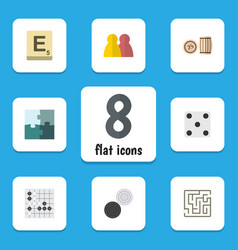 Flat icon games set of jigsaw people mahjong and vector