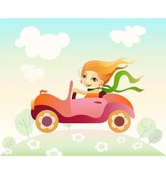 Girl driving car vector