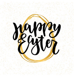 Happy easter lettering for greeting card with vector
