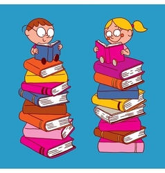 Kids reading vector
