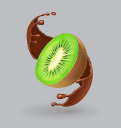 kiwi fruit and chocolate realistic vector image