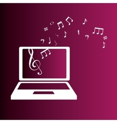 Laptop with music notes color background vector