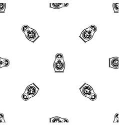 matryoshka pattern seamless black vector image vector image