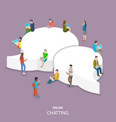 Online chatting flat isometric concept vector