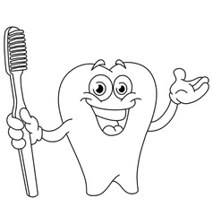 outlined cartoon tooth with toothbrush vector image vector image