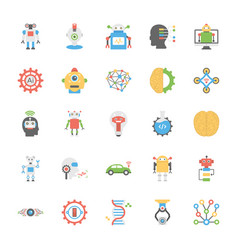 Pack of artificial intelligence in flat design vector