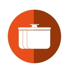 Pot food element camping orange circle shadow vector