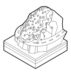 Rockfall icon in outline style vector image vector image