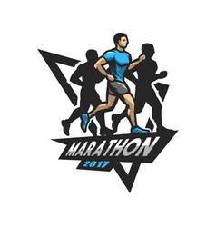 Running marathon emblem logo vector