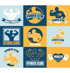Set of different sports and fitness logo templates vector