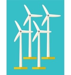 Set of windmills vector image