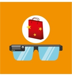 Smart glasses red bag gift star design vector