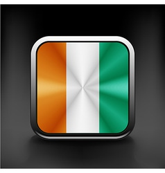 Square flag button series - ivory coast vector