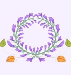 Watercolor purple flowers frame vector