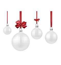 white christmas balls with red bow vector image vector image
