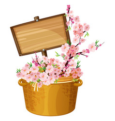 Wooden sign with cherry blossoms vector