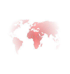 World map of red concentric rings on white vector