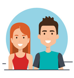 young people couple icon vector image