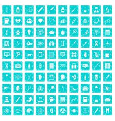 100 diagnostic icons set grunge blue vector