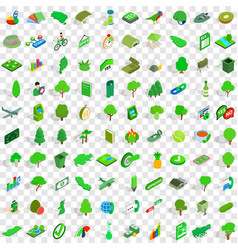 100 green icons set isometric 3d style vector