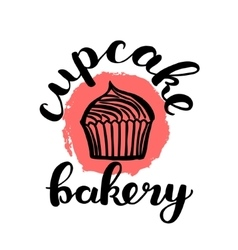 Brush lettering label for cupcake bakery vector