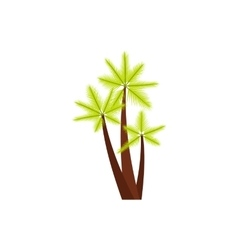 Three tropical palm trees icon flat style vector