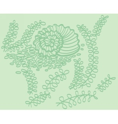 Drawing of shell in sea with seaweed vector