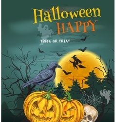 Halloween party poster with pumpkin lanterns vector