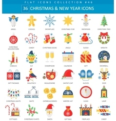 Christmas and Happy New Year flat icon set vector image