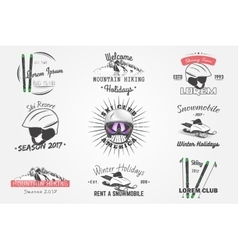 Set ski club team mountain and outdoor adventures vector