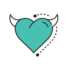 Line icon style heart devil blue vector