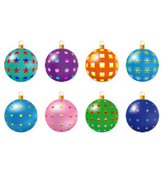Colorful christmas balls set of isolated vector