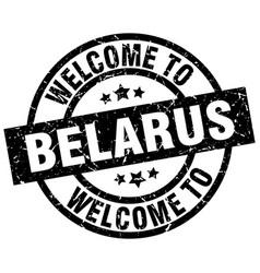 Welcome to belarus black stamp vector