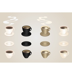 Coffee cups and saucers collection vector