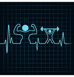 Heartbeat make a body builder and weight lifting vector