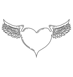 Winged love heart vector