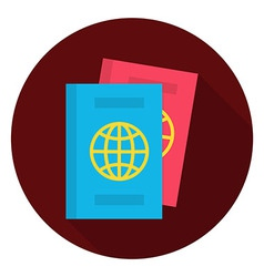 Flat passport documents circle icon vector