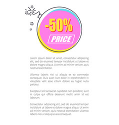 50 off price round sticker abstract bomb discount vector