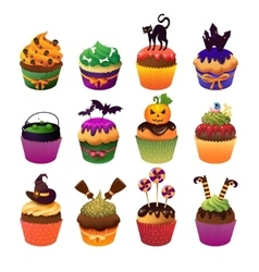 Happy halloween cupcake set scary sweets to vector