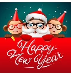 Happy new year card with santa claus and monkeys vector